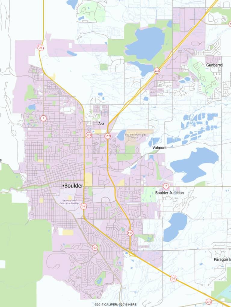 Area map, Boulder