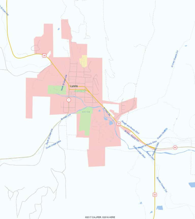 Area map, Lyons