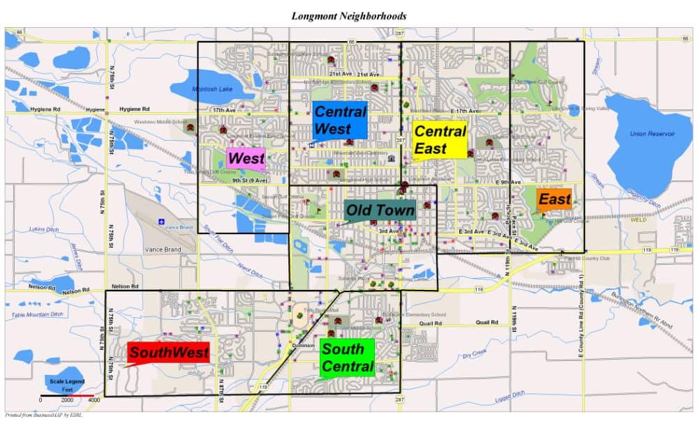 Longmont Neighborhoods, map, Agents for Home Buyers, Boulder, CO